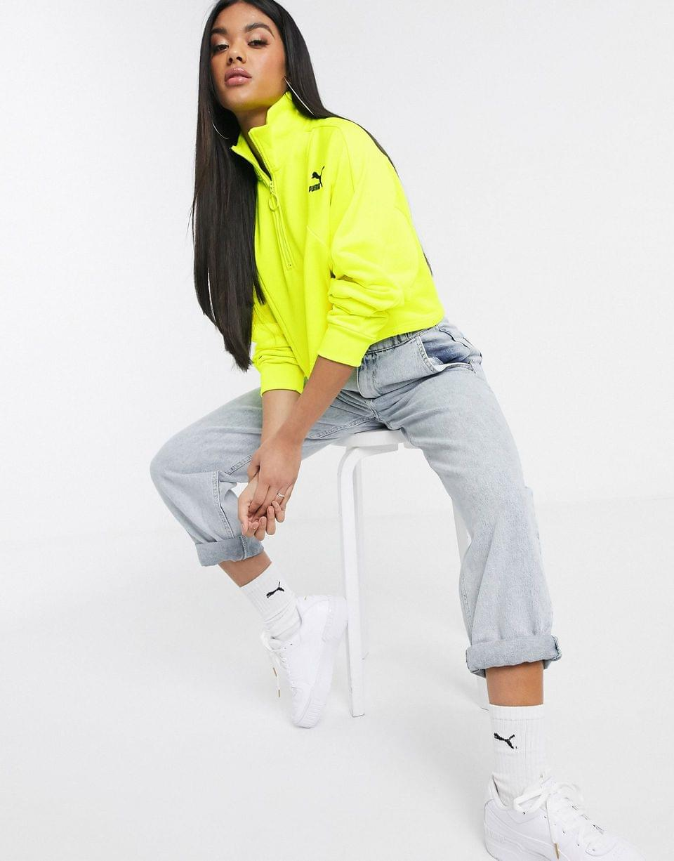 Women's Puma TFS cropped sweater in lime