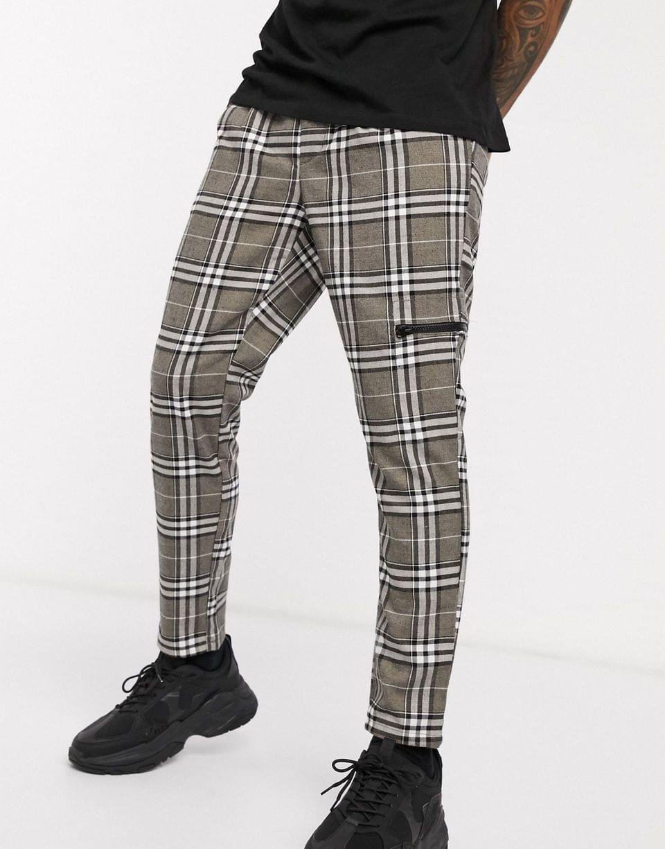 Men's cigarette pants in check with zip pocket