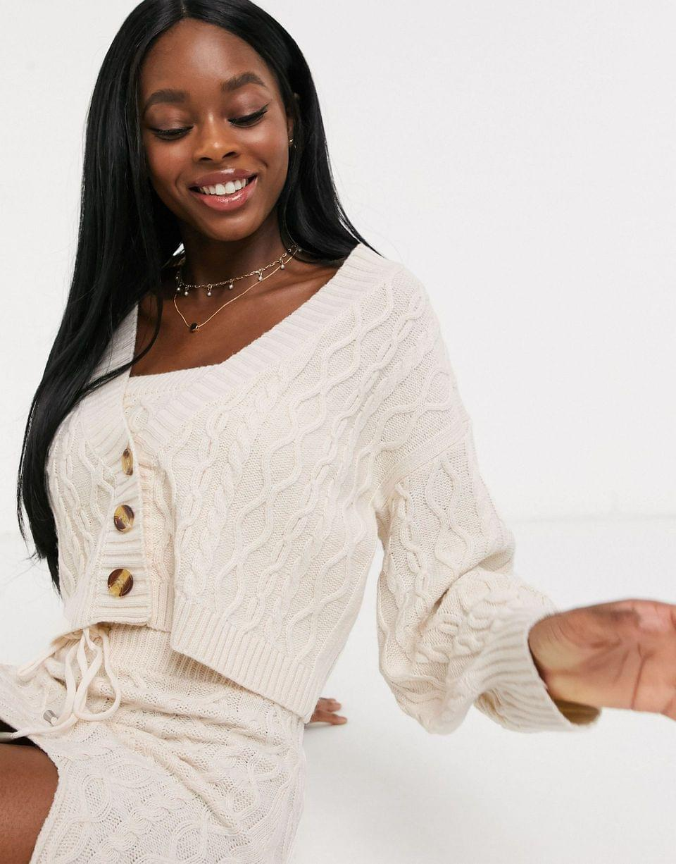 Women's Skylar Rose relaxed cardigan in cable knit two-piece