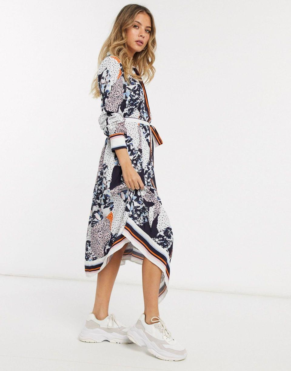 Women's French Connection mixed print hankerchief hem midi shirt dress