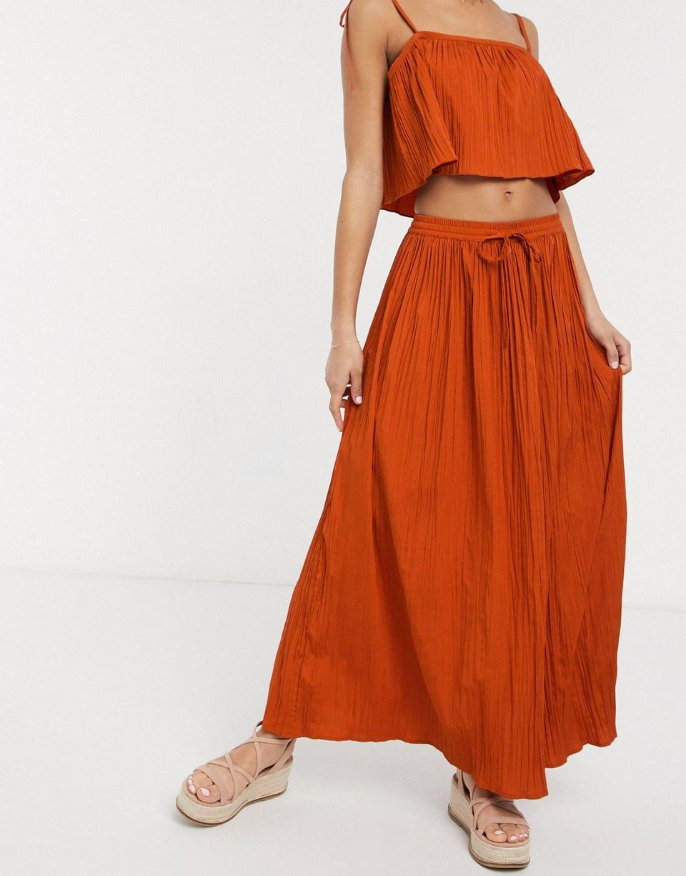 Women's maxi crinkle column skirt in rust two-piece