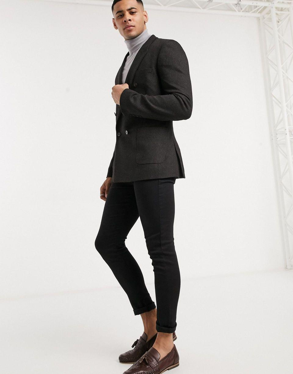 Men's skinny double breasted blazer in charcoal wool mix twill