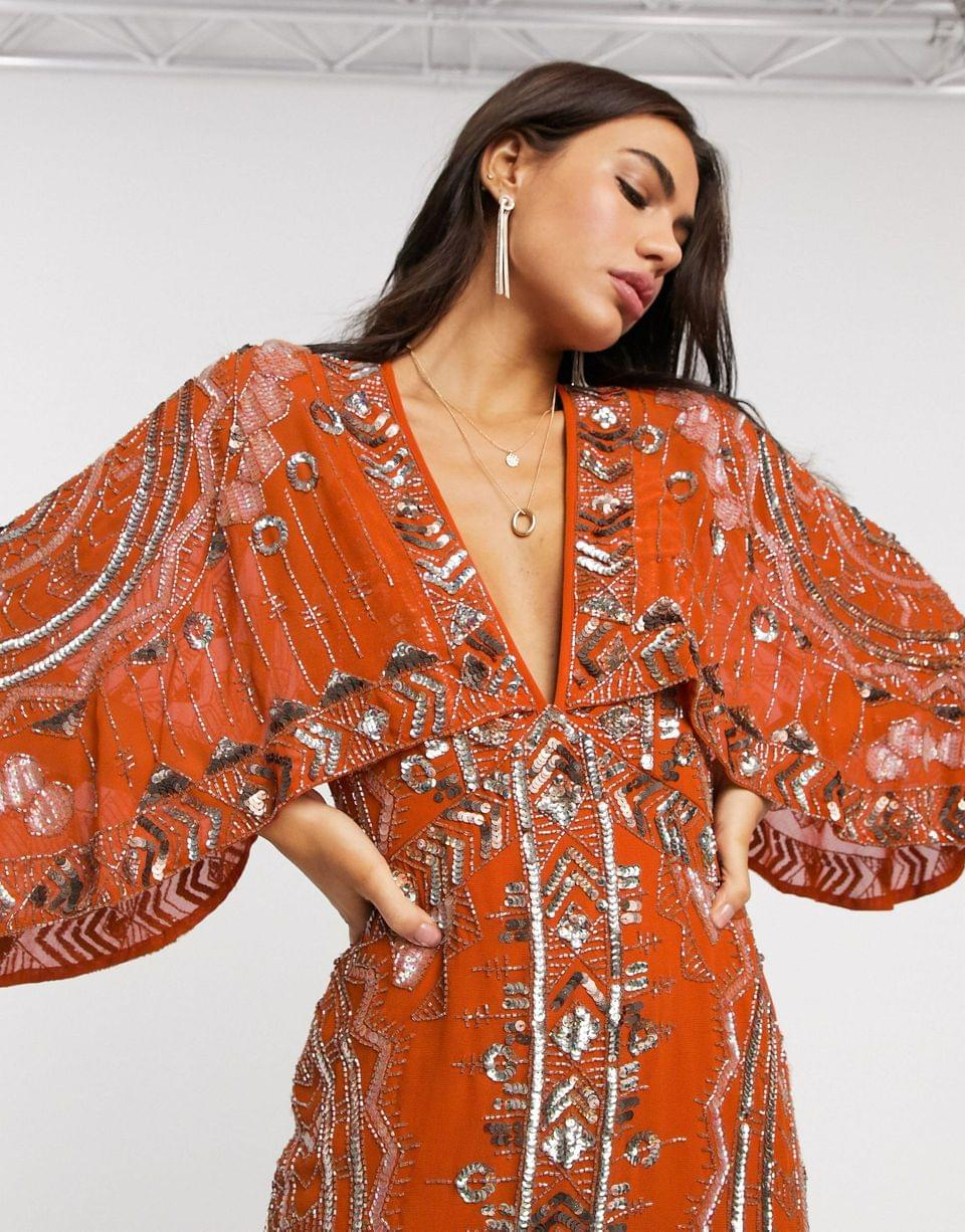 Women's midi dress with kimono sleeve and embellished cape