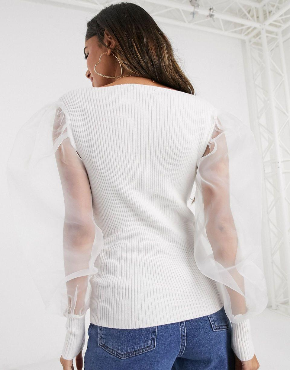 Women's PrettyLittleThing ribbed sweater with organza puff sleeves in white