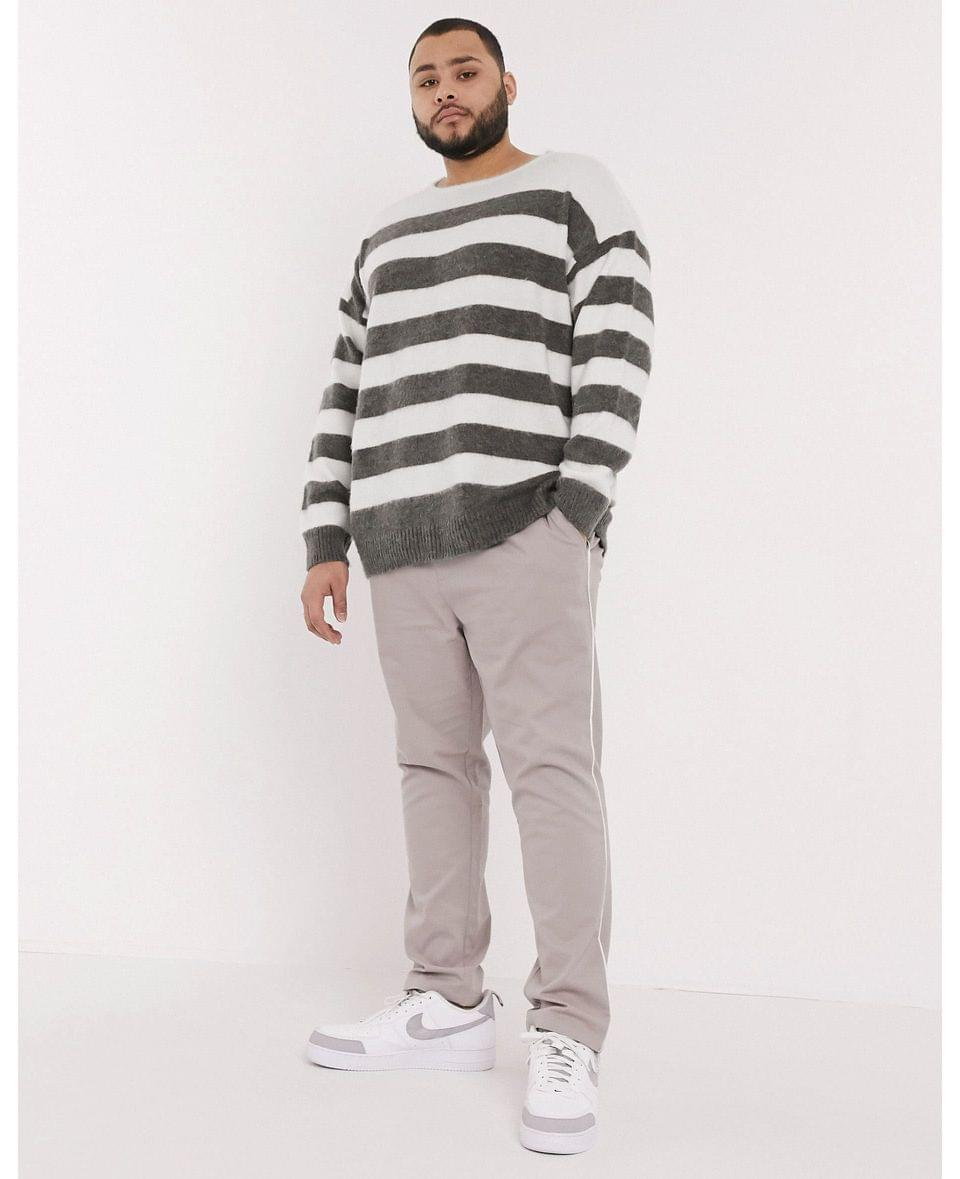 Men's Plus oversized sweater with scoop neck in charcoal and white stripe