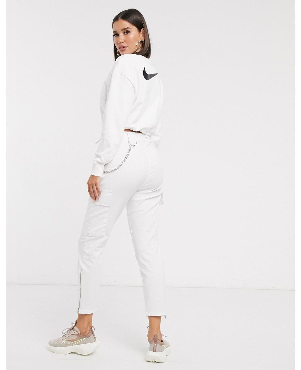 Women's Nike Elastic Drawcord Cropped Mini Swoosh White Sweatshirt