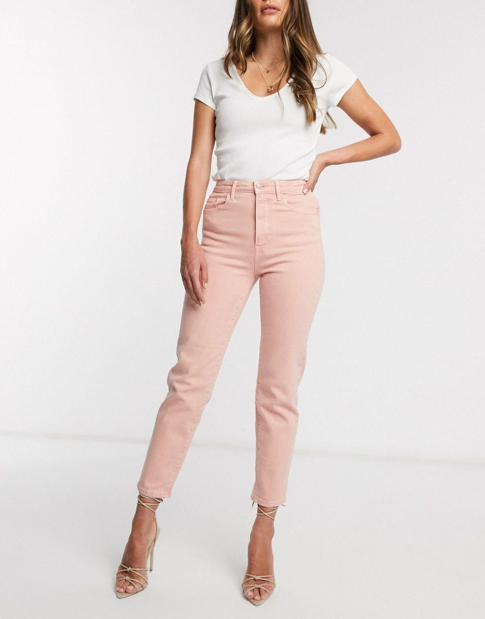 Women's Stradivarius slim mom jean in pink
