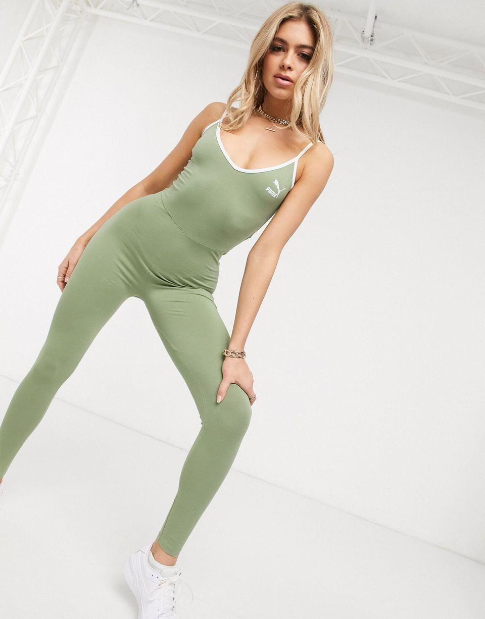 Women's Puma Classics Spaghetti Unitard in green exclusive to
