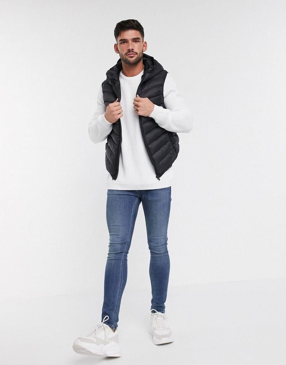 Men's ribbed sweater with raglan sleeve in white