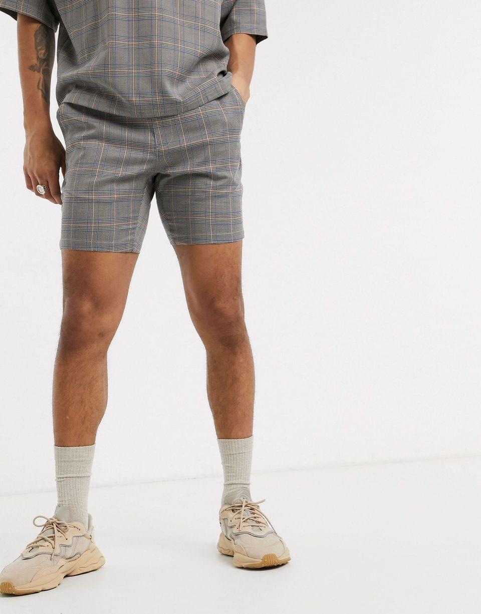 Men's skinny woven co-ord in check