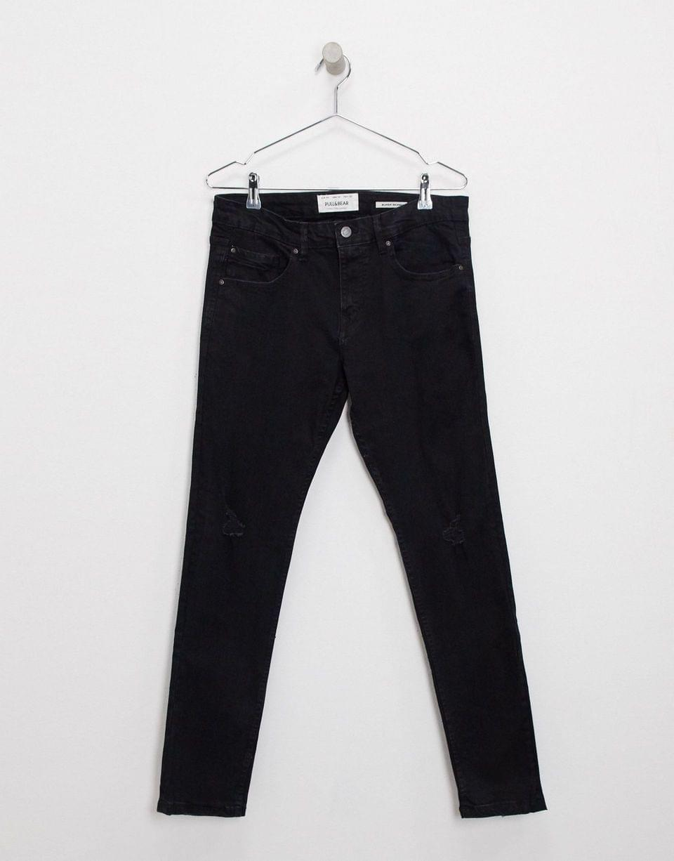 Men's Pull&Bear super skinny jeans with knee rips in black