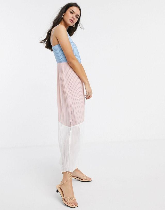 WOMEN Warehouse color block pleated maxi slip dress in pink