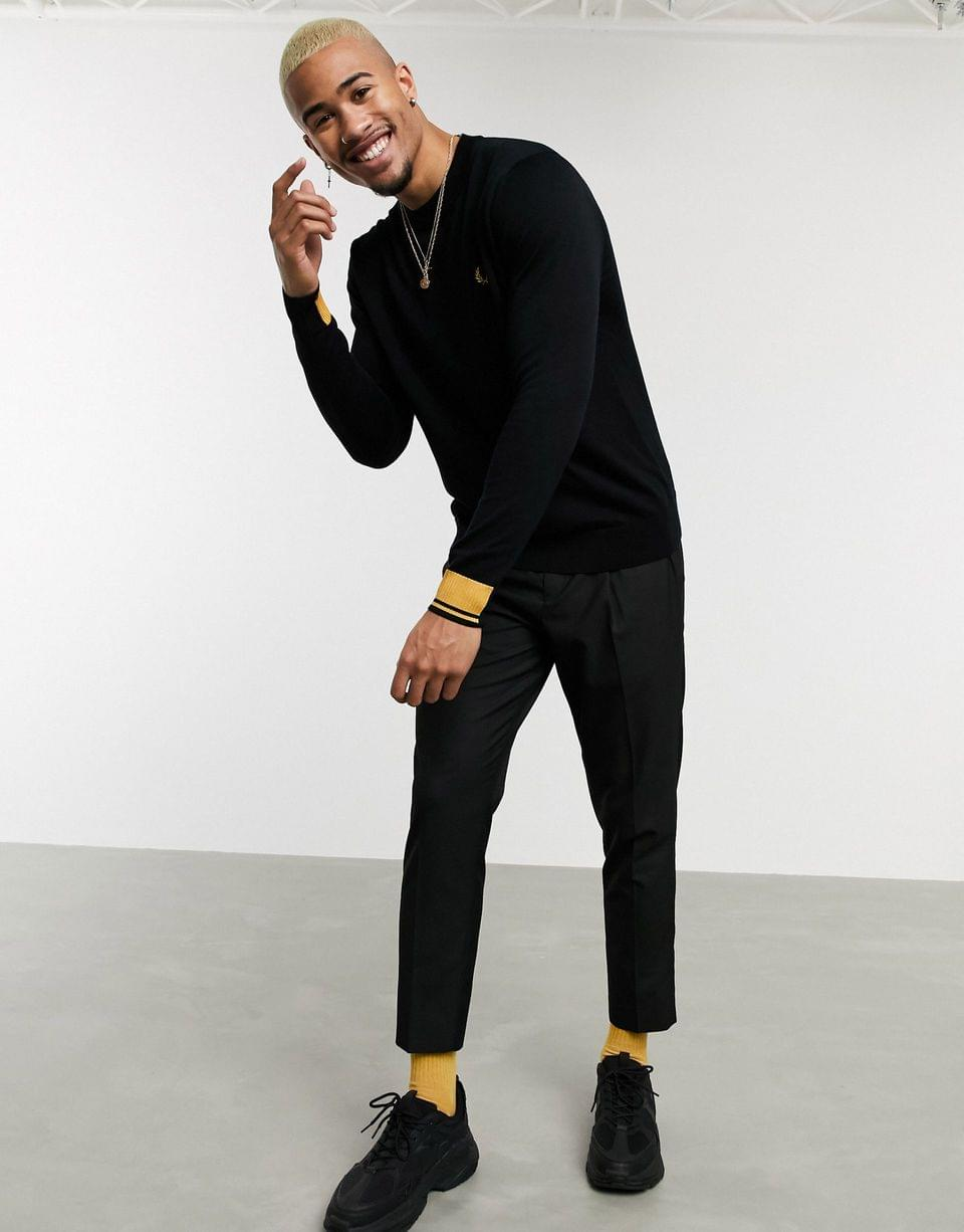 Men's Fred Perry abstract tipped crew neck sweater in black