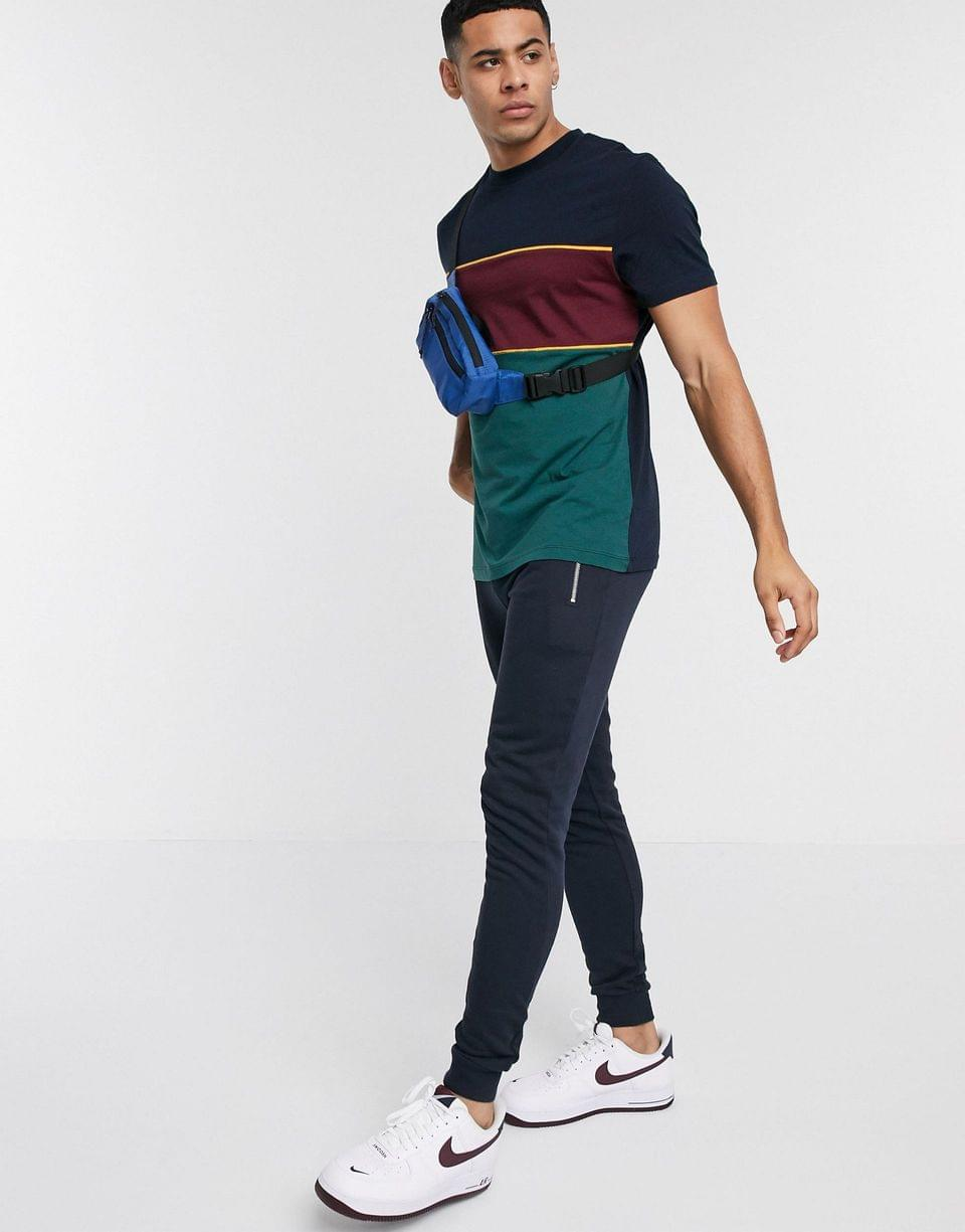 Men's t-shirt with color block and piping in navy