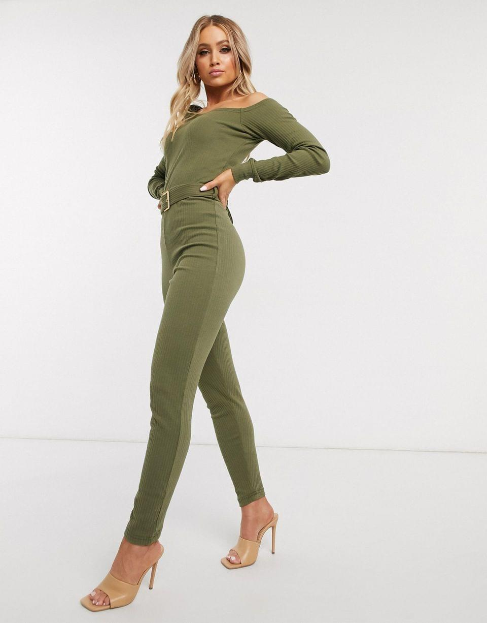 Women's Missguided off the shoulder jogger jumpsuit in green