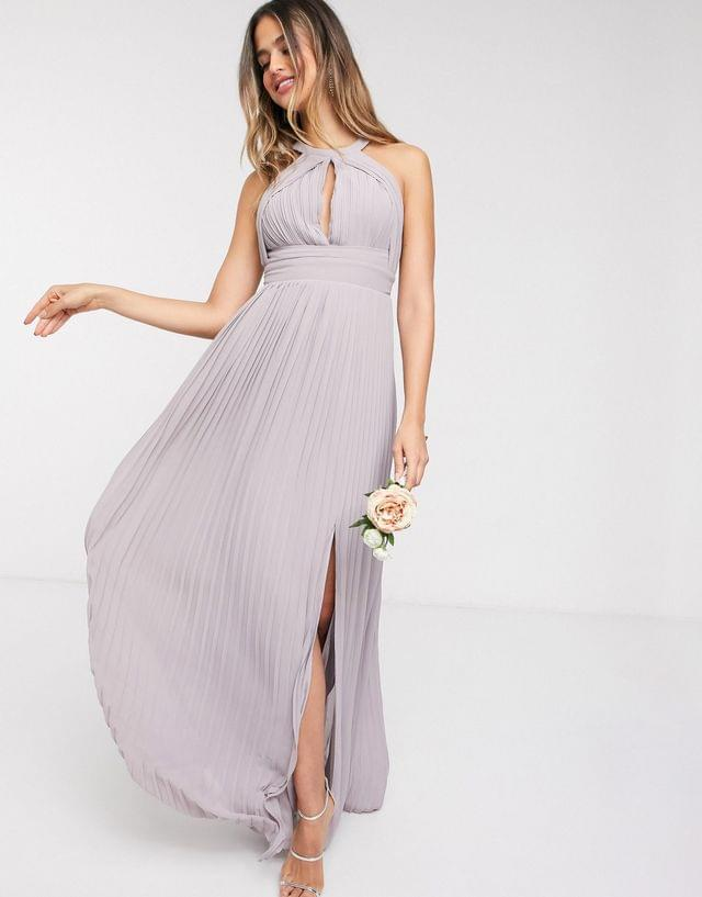 WOMEN TFNC Tall bridesmaid exclusive pleated maxi dress in gray