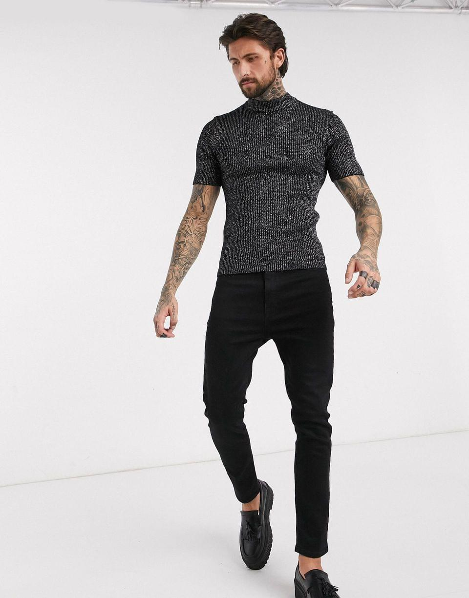 Men's muscle fit knitted rib turtleneck t-shirt in silver and black twist