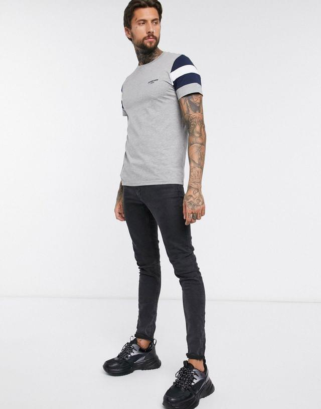 MEN Jack & Jones Originals script logo panel t-shirt in gray