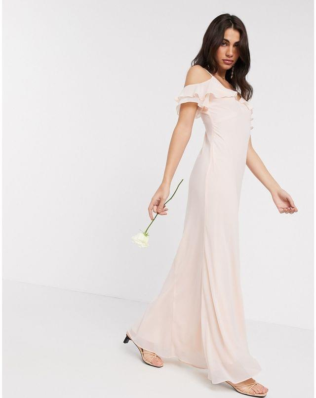 WOMEN Warehouse bridesmaids cold shoulder frill maxi dress with button back in blush pink