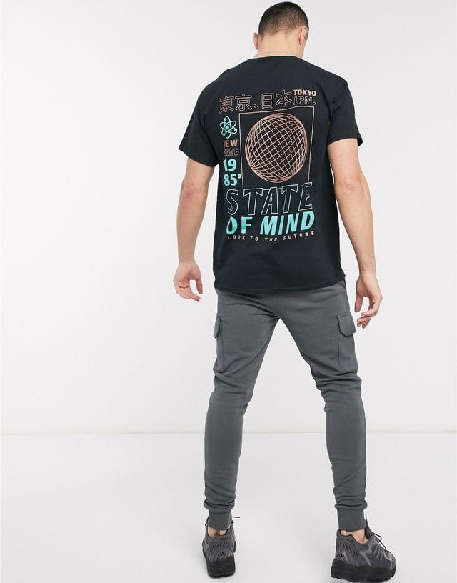 MEN New Look state of mind front and back oversized print t-shirt in black