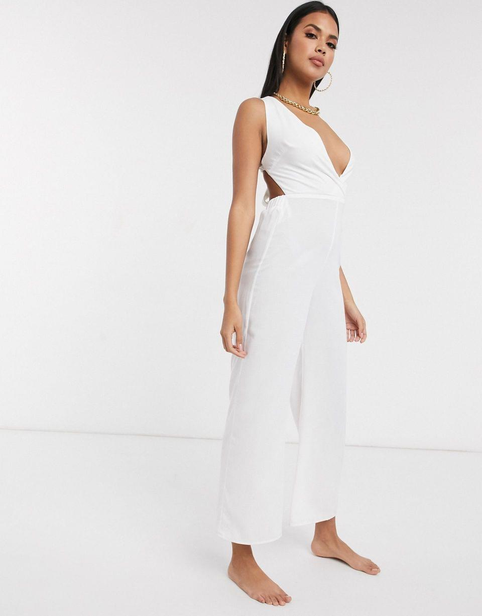 Women's Fashion Union plunge front beach jumpsuit in white