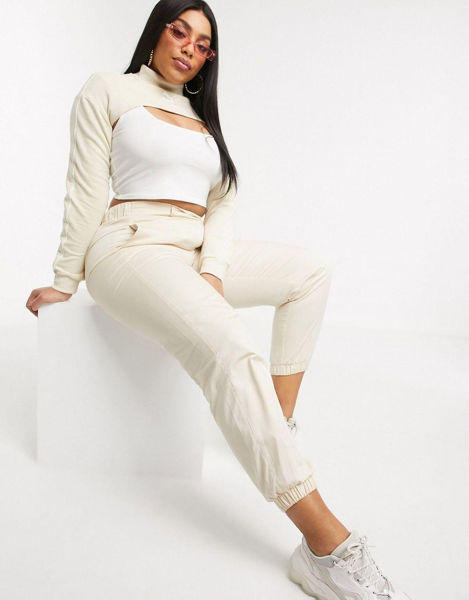 Women's Puma long sleeve cover up in cream exclusive to