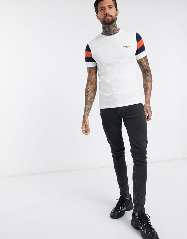 MEN Jack & Jones Originals script logo panel t-shirt in white