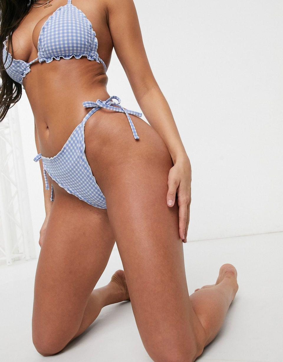 Women's Seersucker Bikini in White / Blue