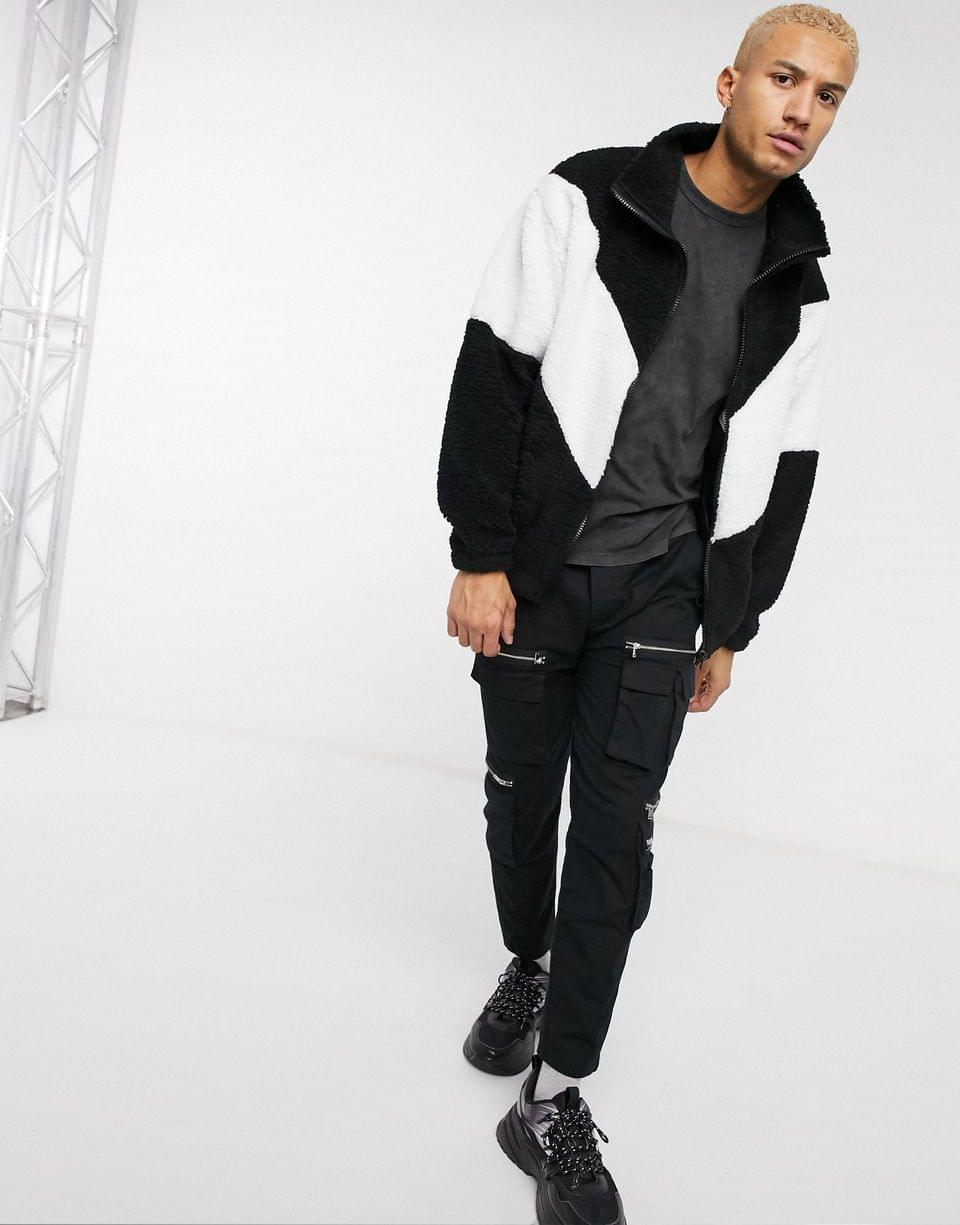 Men's oversized track top in teddy borg with chevron color block
