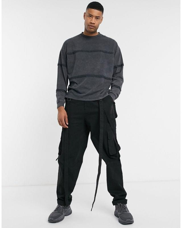MEN Tall oversized long sleeve t-shirt with seam details in black acid wash
