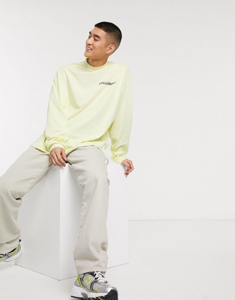 Men's COLLUSION oversized t-shirt with raised logo print in yellow