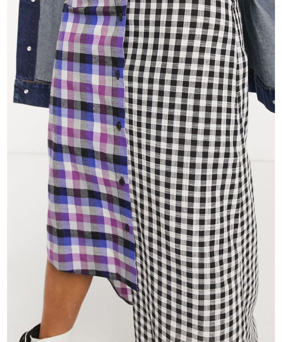 Women's Vintage Supply deconstructed midaxi skirt in mixed check