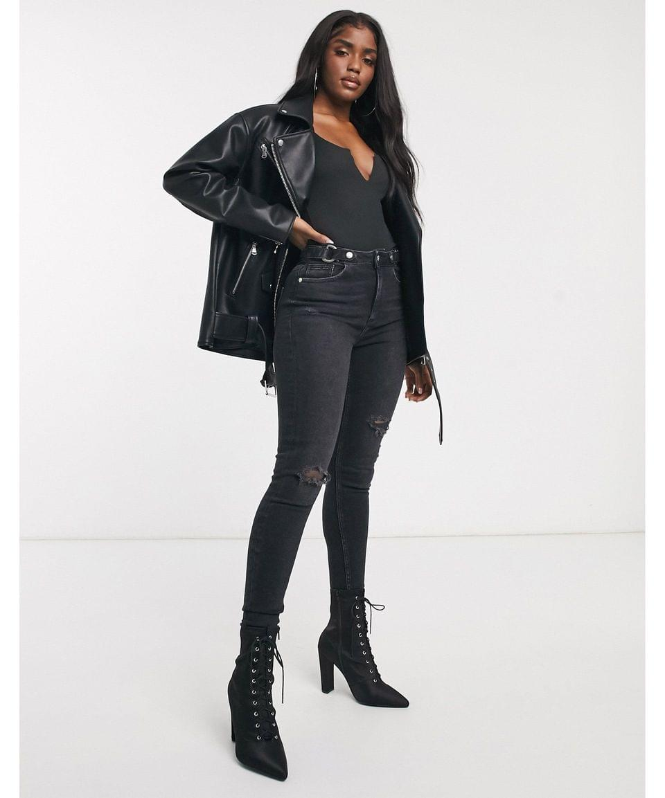 Women's oversized leather look biker jacket in black