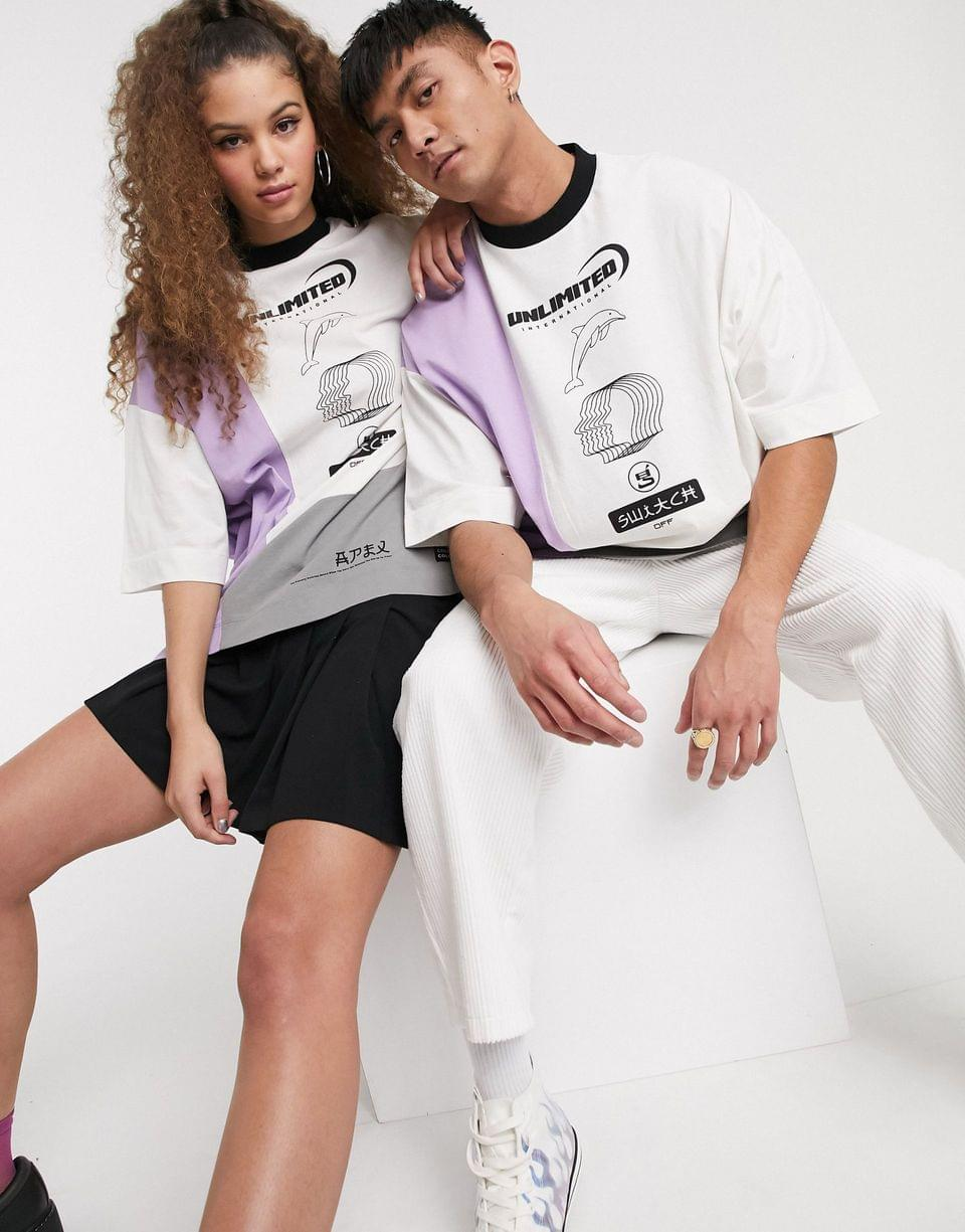 Men's COLLUSION Unisex extreme oversized t-shirt with color block and print