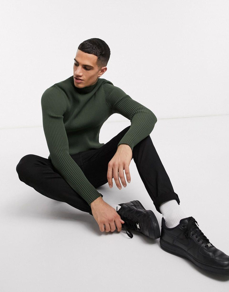 Men's WHITE muscle fit sweater with high neck in khaki