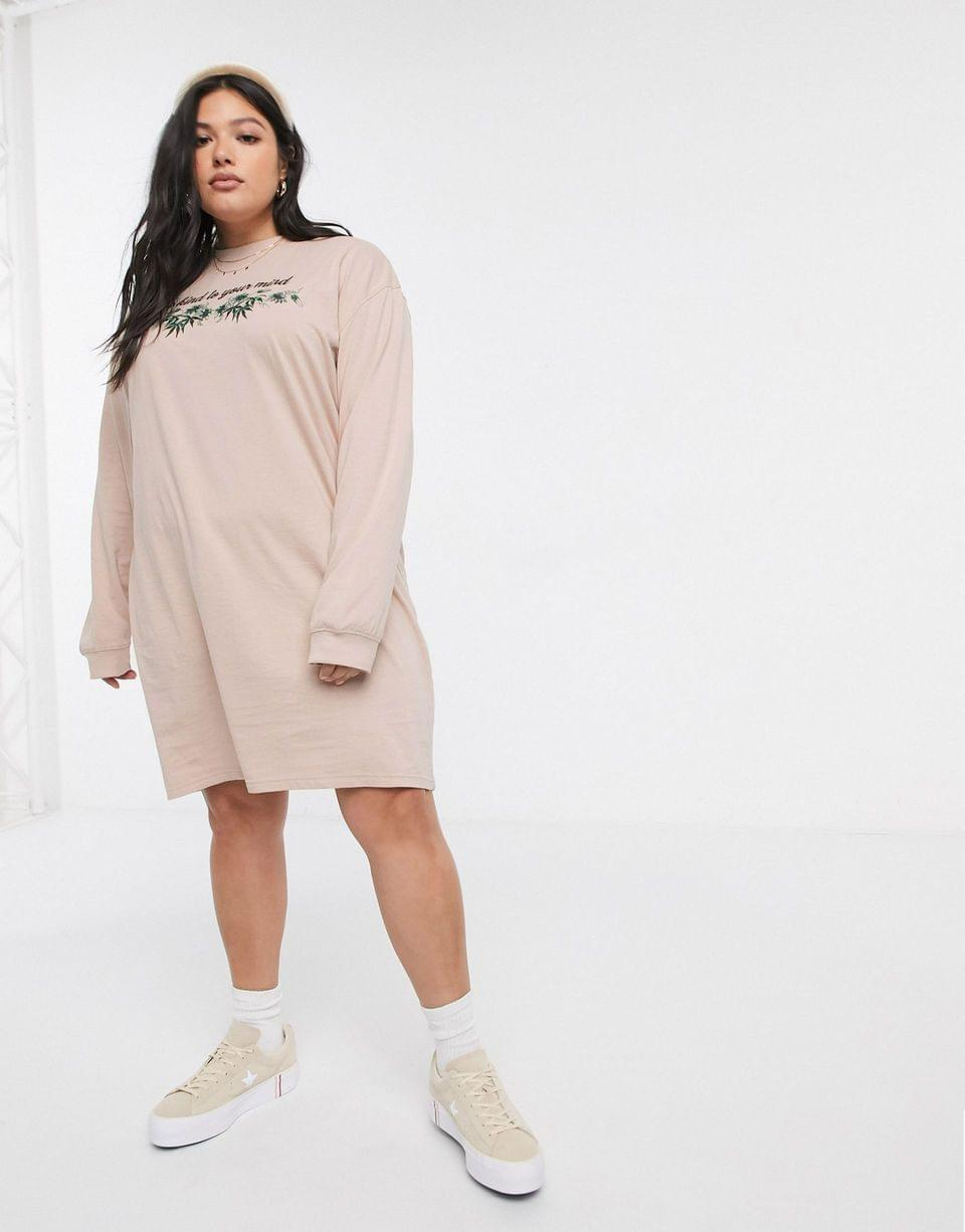 Women's Daisy Street Plus oversized long sleeve t-shirt dress with be kind print