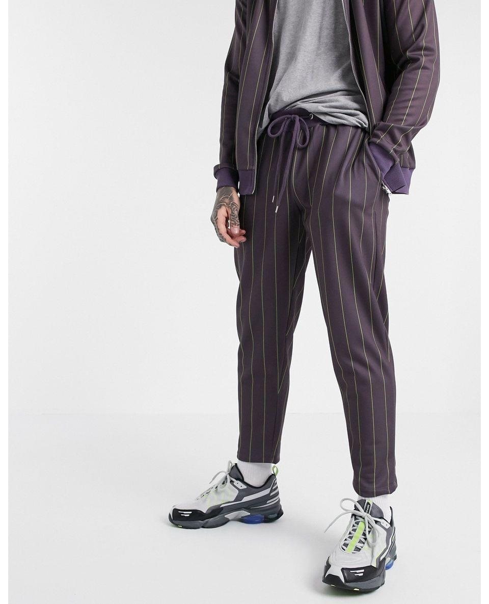 Men's tracksuit with track jacket & cropped sweatpants with pin stripe in burgundy