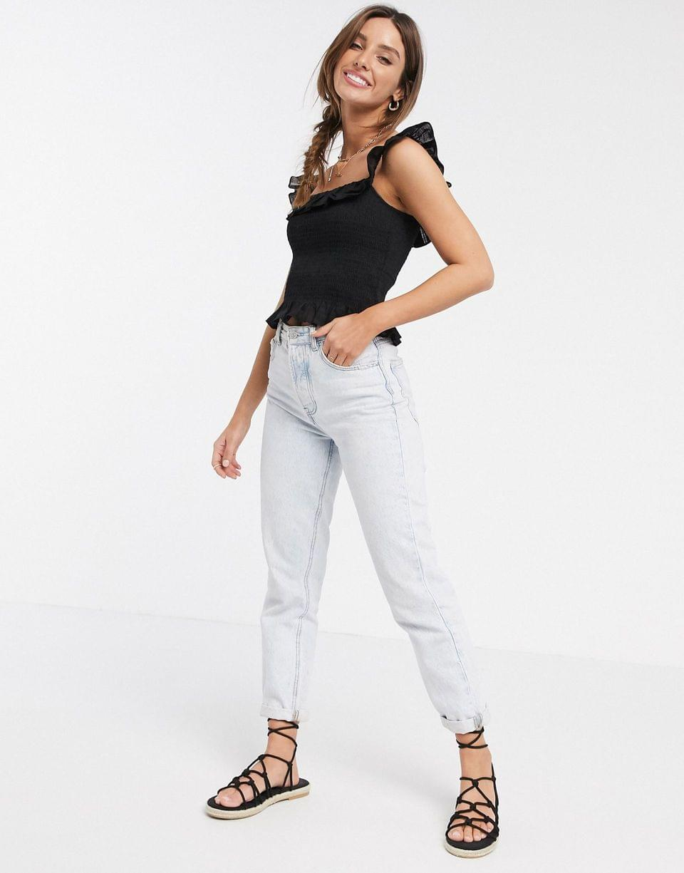 Women's square neck sun top with shirring and ruffle detail