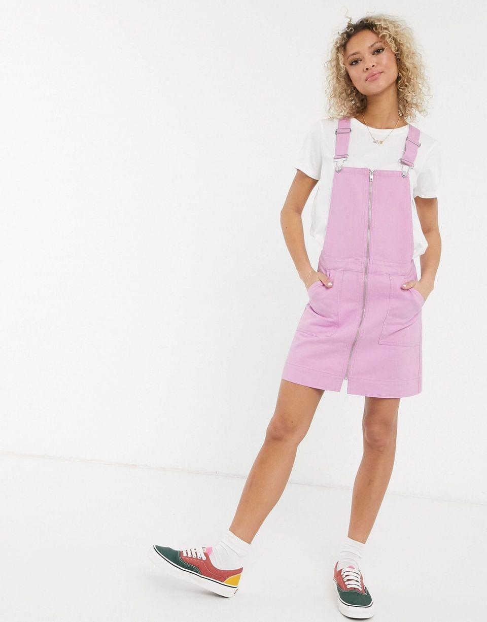 Women's Urban Bliss overdyed pink denim dungaree dress in pink