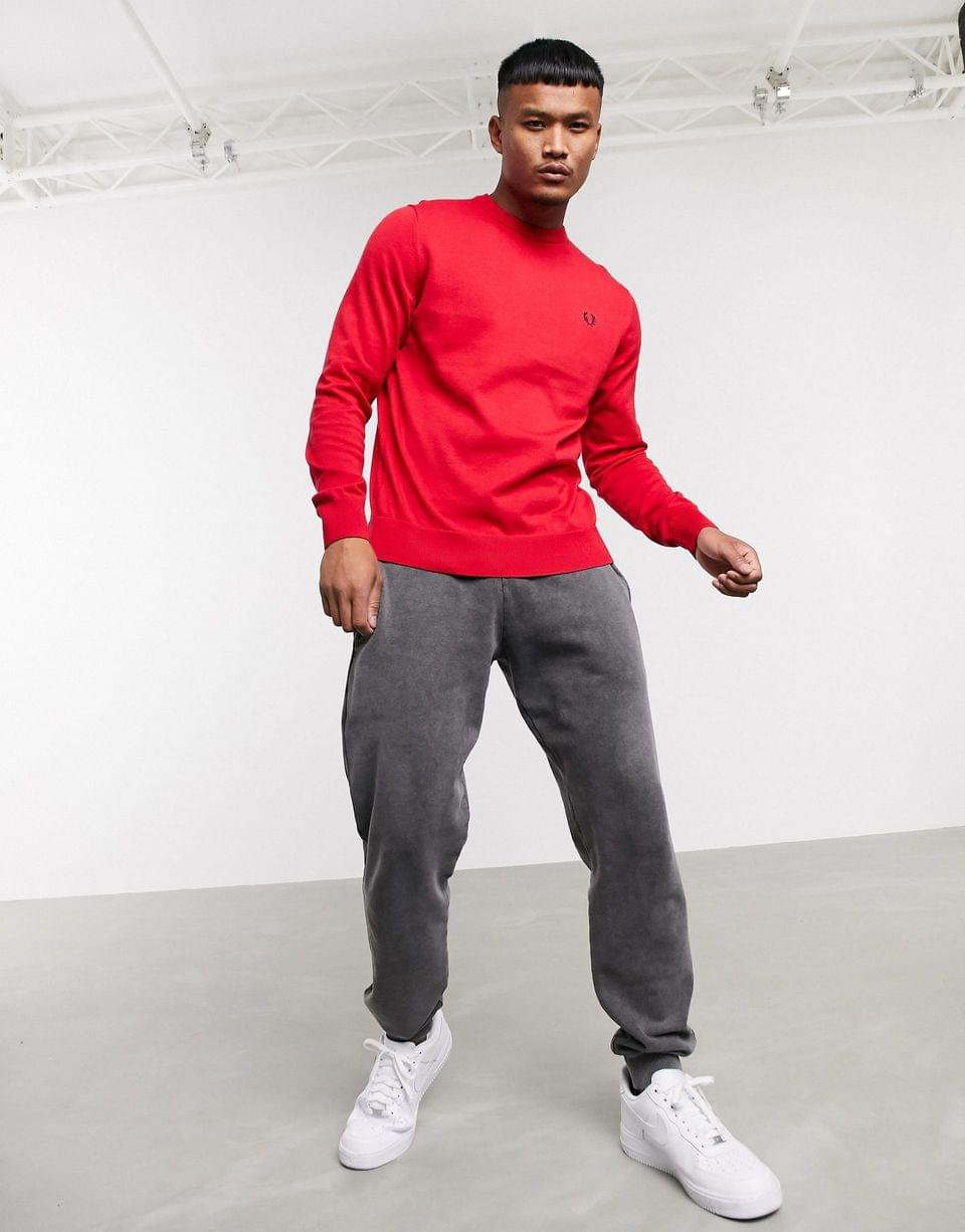 Men's Fred Perry classic cotton crew neck sweater in red