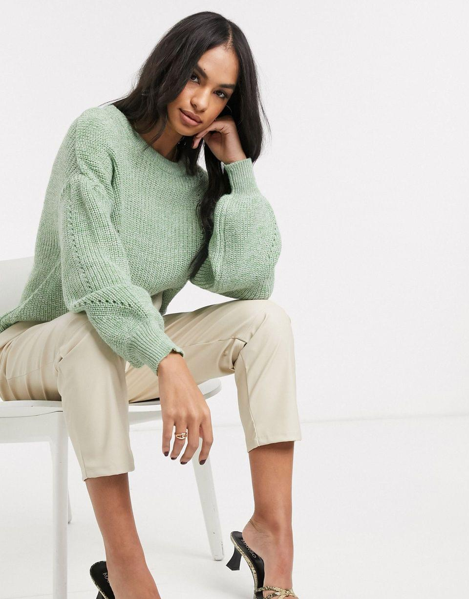 Women's Vila knitted sweater with balloon sleeve in green