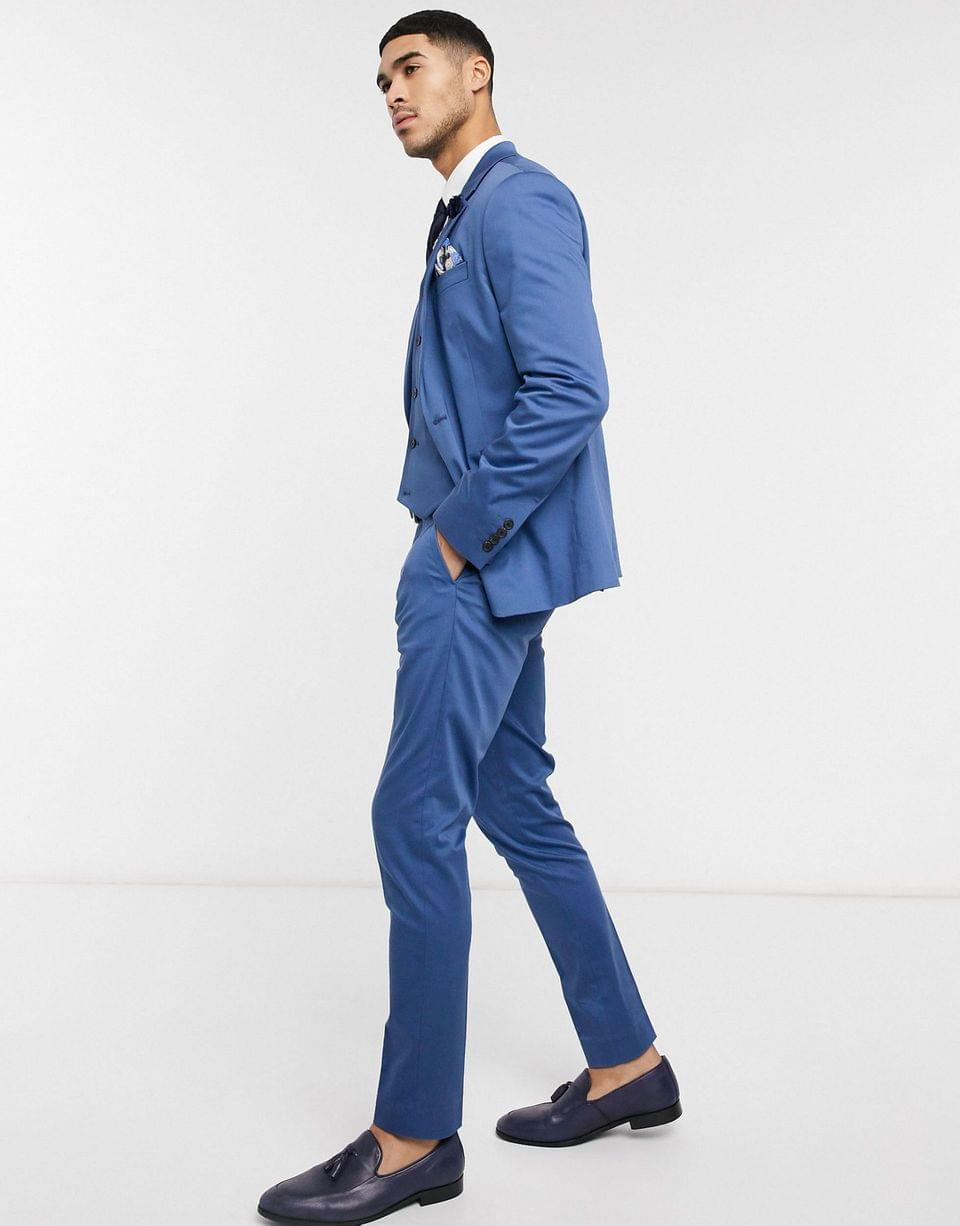 Men's wedding skinny suit pants in blue stretch cotton