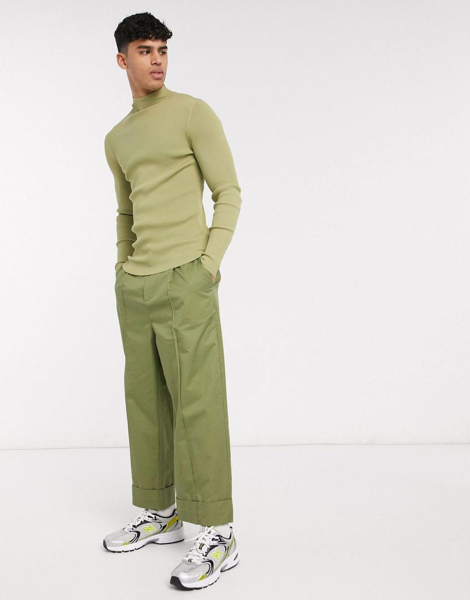 Men's WHITE muscle fit sweater with high neck in green