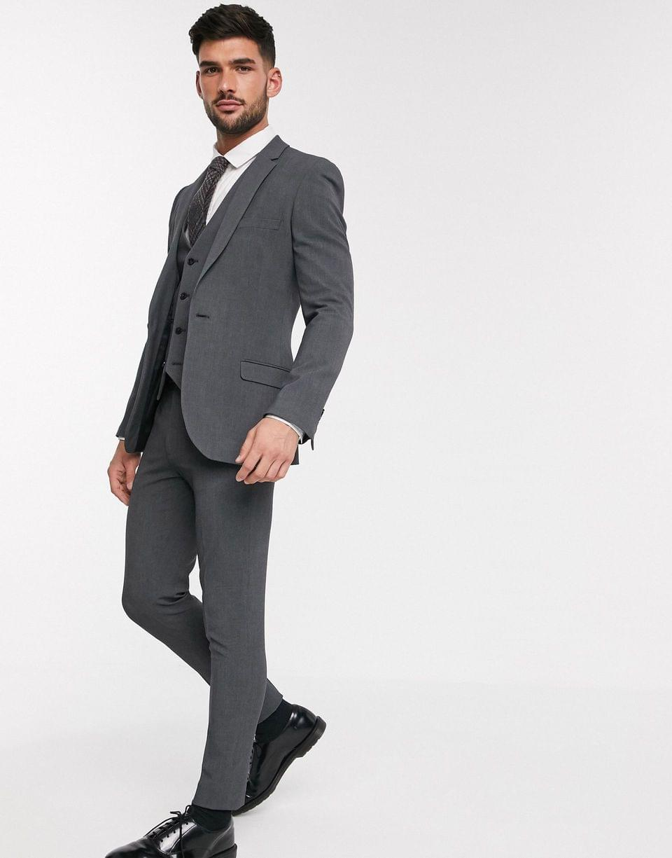 Men's super skinny suit jacket in four way stretch in charcoal