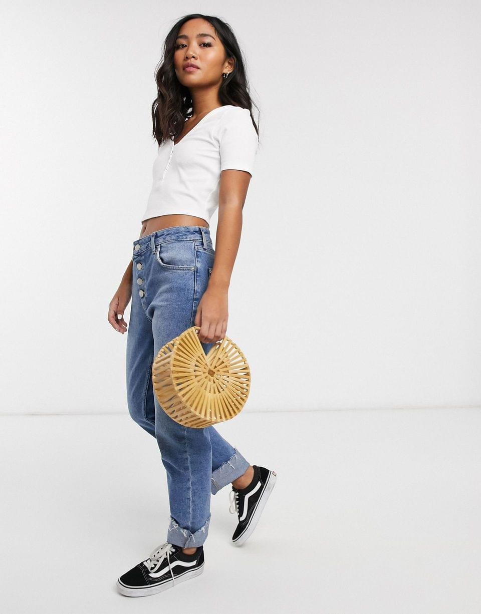 Women's PETITE v-neck button up front t-shirt in white
