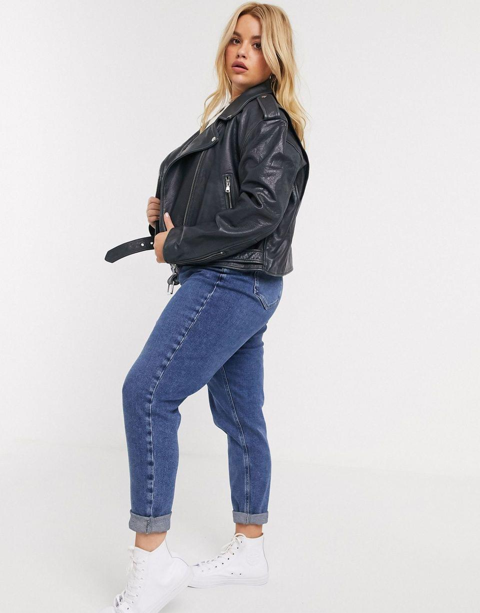 Women's Curve washed leather biker jacket in black