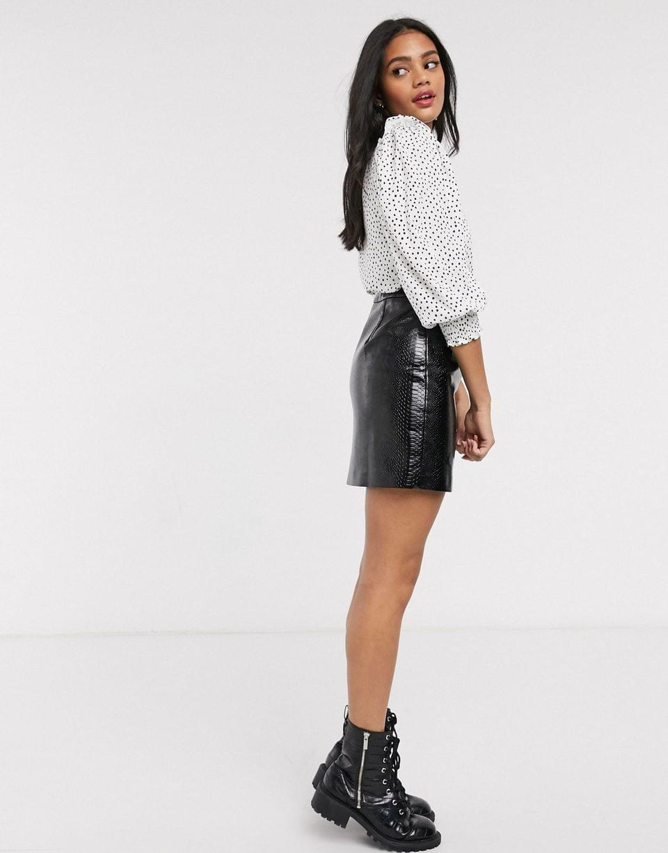 Women's Pull&Bear blouse with frill detail in white polka dot