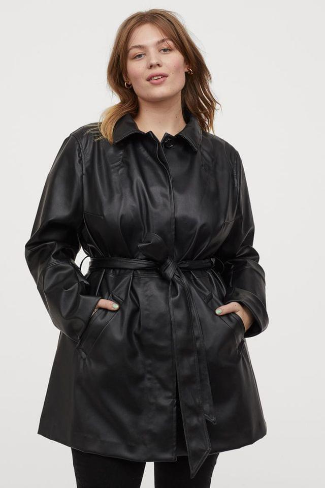 WOMEN H&M+ Faux Leather Coat
