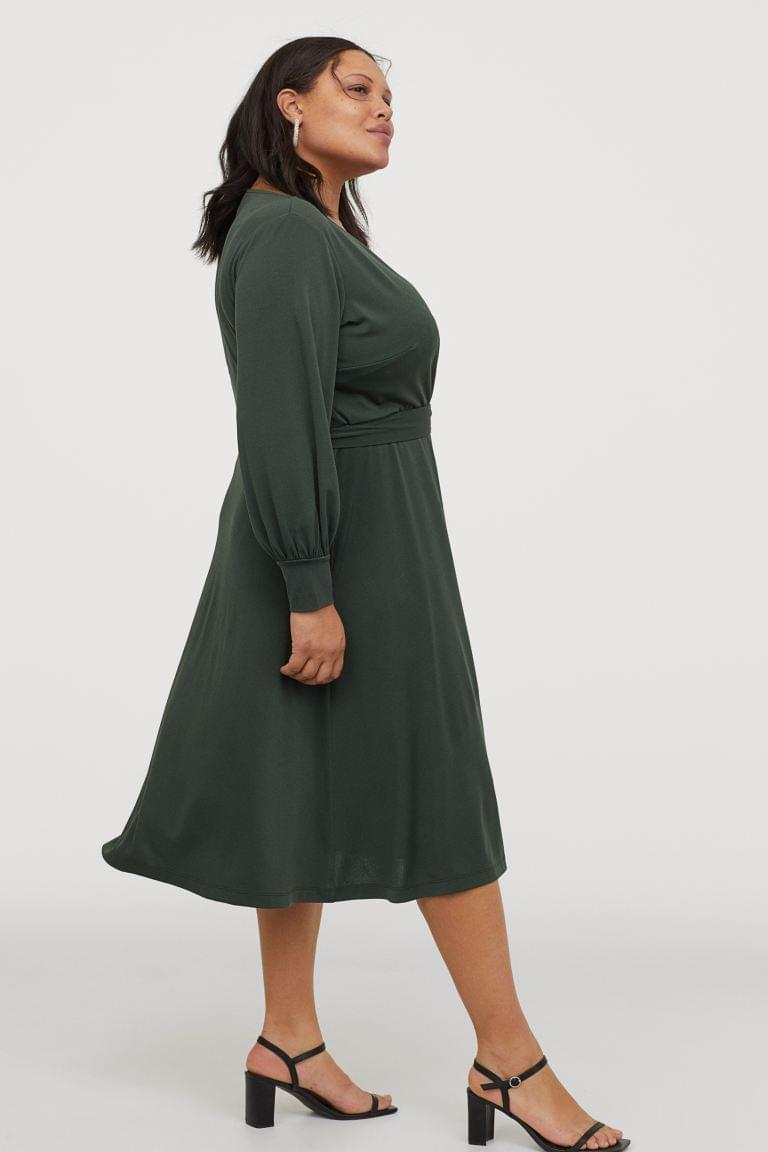 Women's H&M+ Cr ped Wrap-front Dress