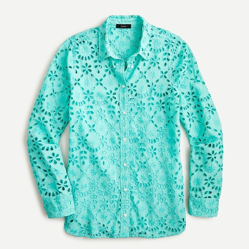 Women's Long-sleeve button-up shirt in embroidered eyelet